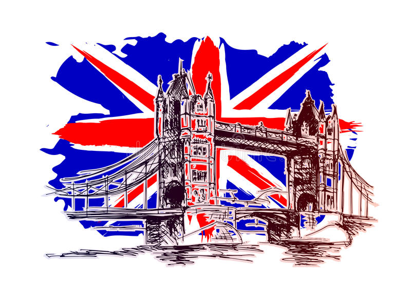 Background with England motive stock illustration