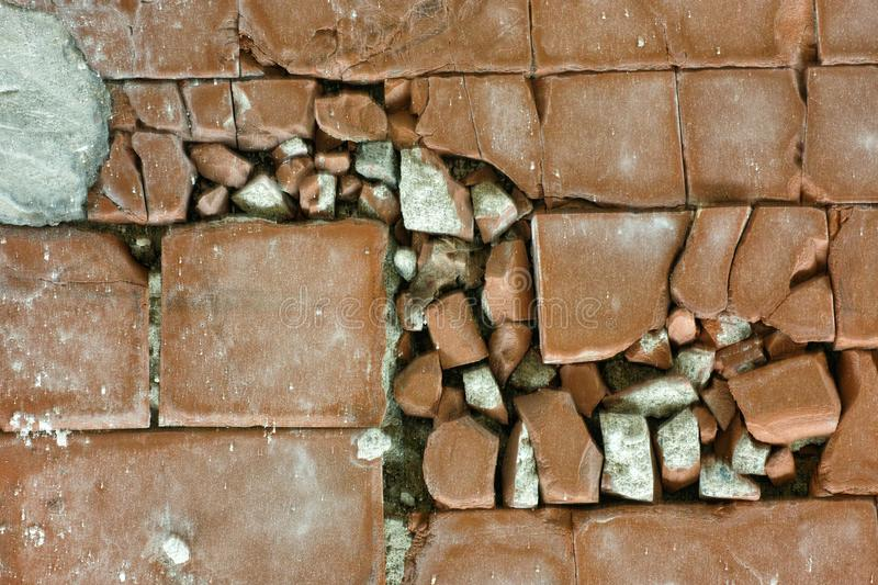 Broken terracotta tile detail royalty free stock image