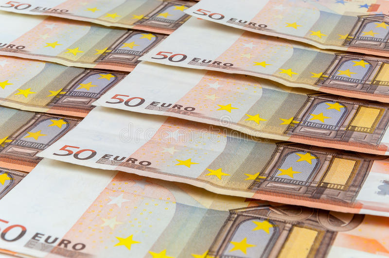 Background of 50 euro banknotes. Laying in a row royalty free stock photography