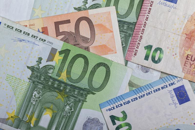 Background of euro notes of different values. stock photo