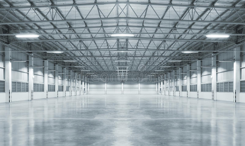 Background. Factory background with concrete floor, night scene stock images