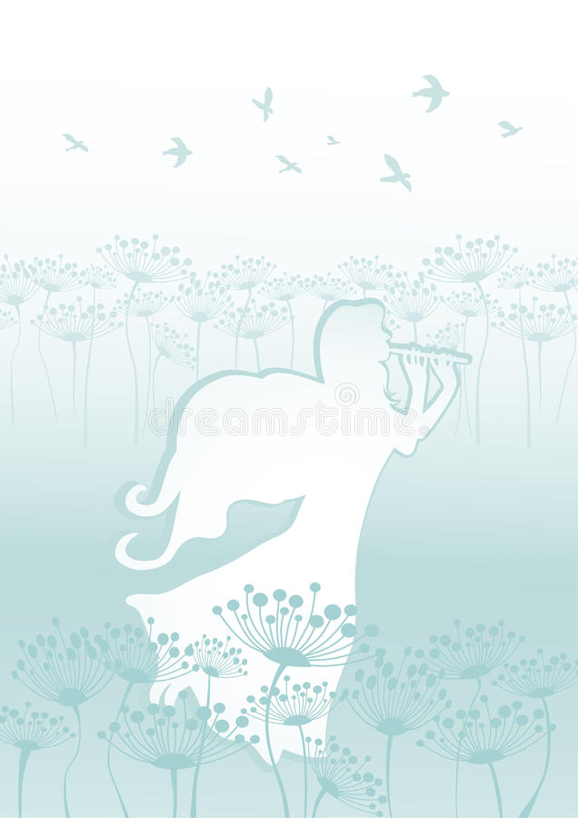 Background with fairy playing flute