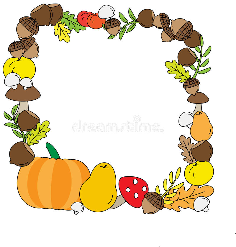 Background with Fall leaves. fruits and Mushrooms. Vector Background with Fall leaves. fruits and Mushrooms vector illustration