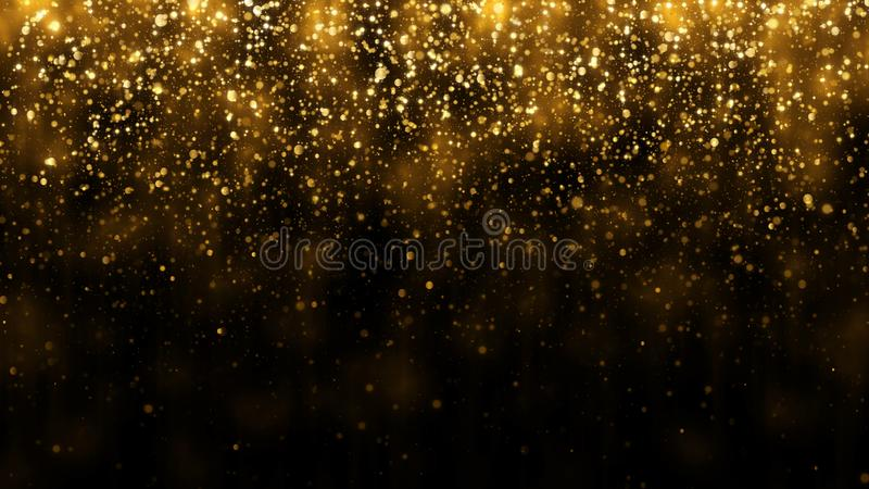 Background with falling golden glitter particles. Falling gold confetti with magic light beautiful light background. Background with falling golden glitter royalty free stock images