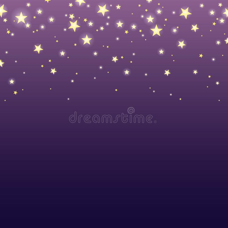 Background with falling shining stars. Vector eps-10. Vector purple background with falling shining gold stars stock illustration