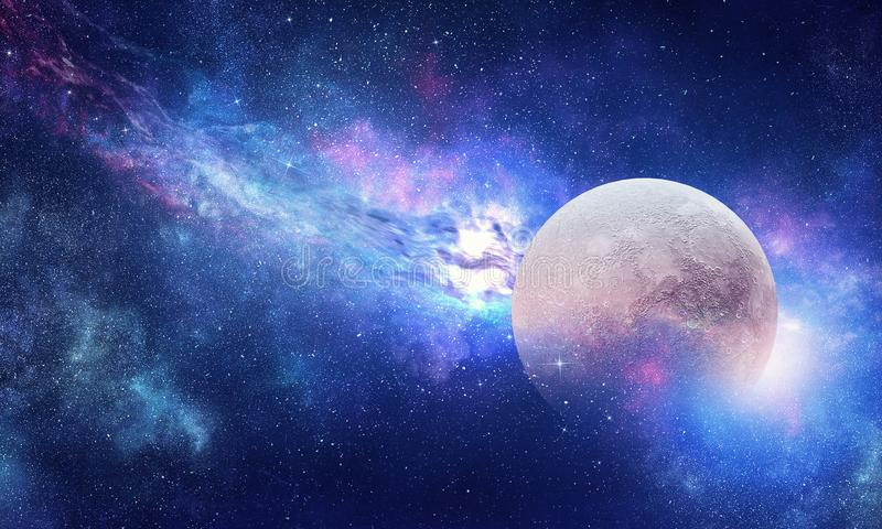 Full moon in night starry sky. Background fantasy image with full moon in night glowing sky royalty free illustration