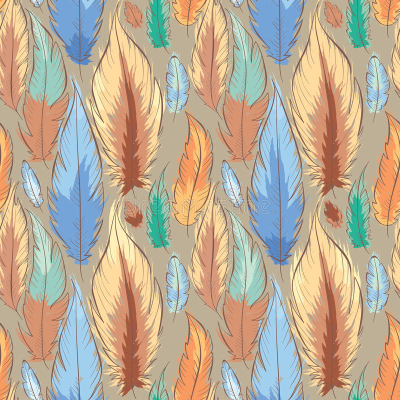 Background with feathers vector illustration