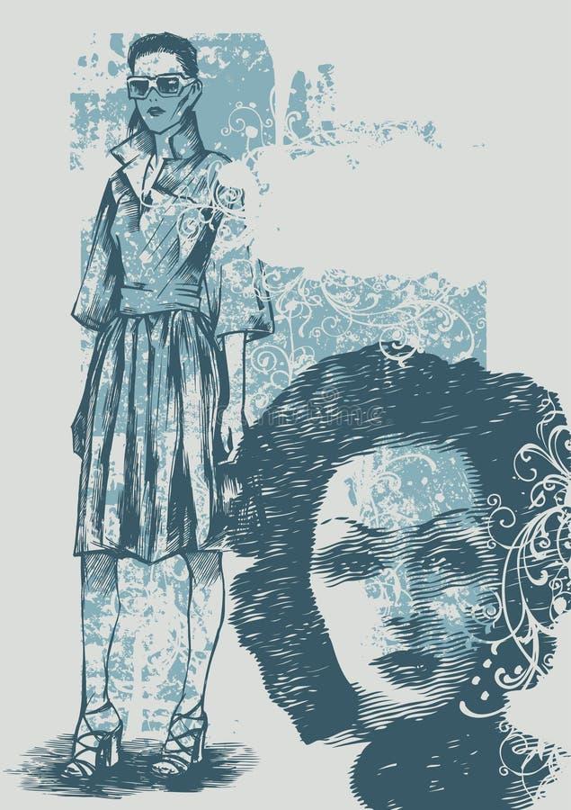 Background with female models royalty free illustration