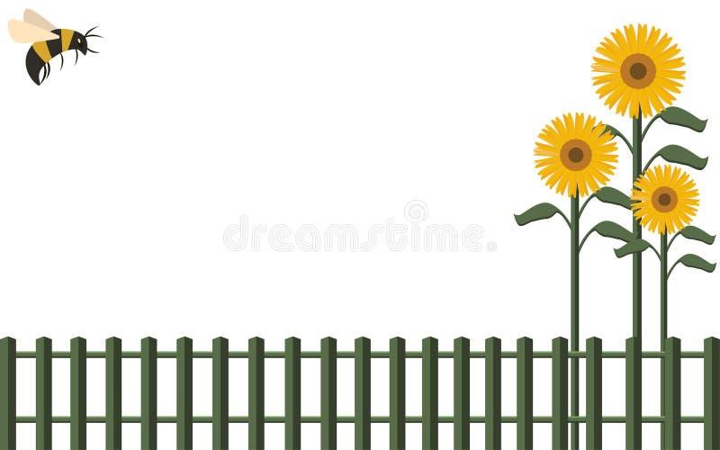 Sunflower Fence Stock Illustrations – 566 Sunflower Fence ...