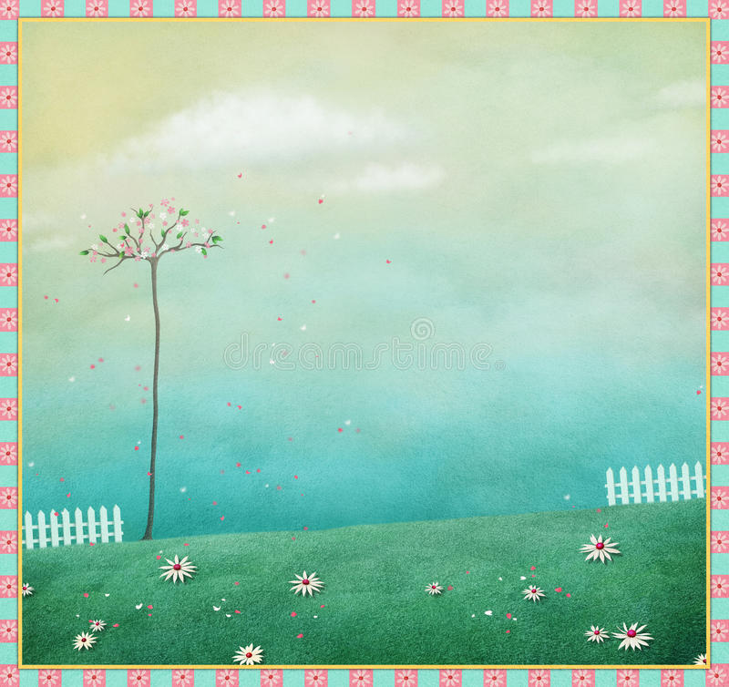 Background with fence stock illustration
