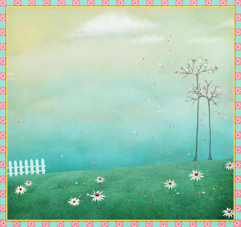 Background with fence royalty free illustration