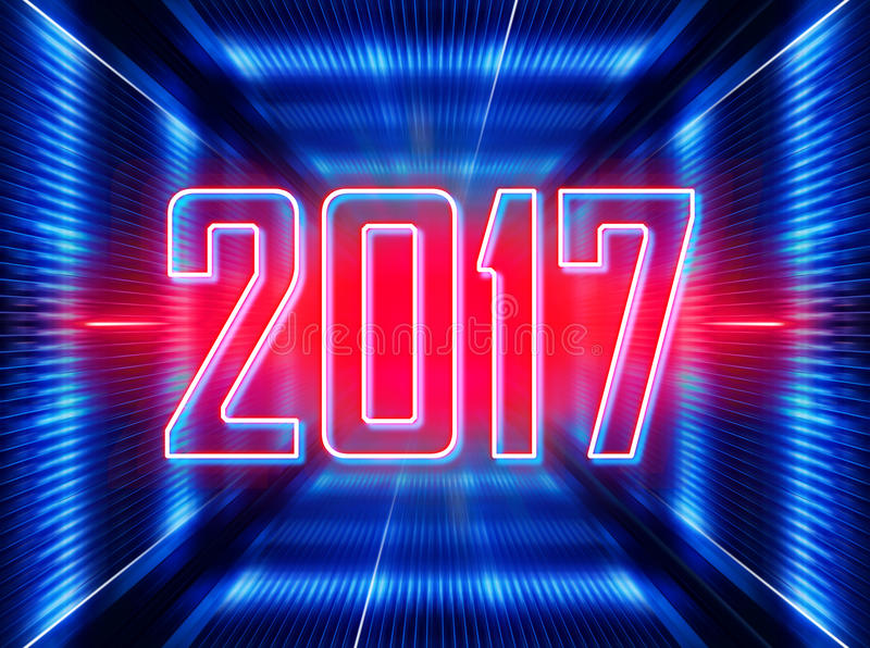 Background with figures 2017. Technology background with transparent figures 2017 for New Year stock illustration