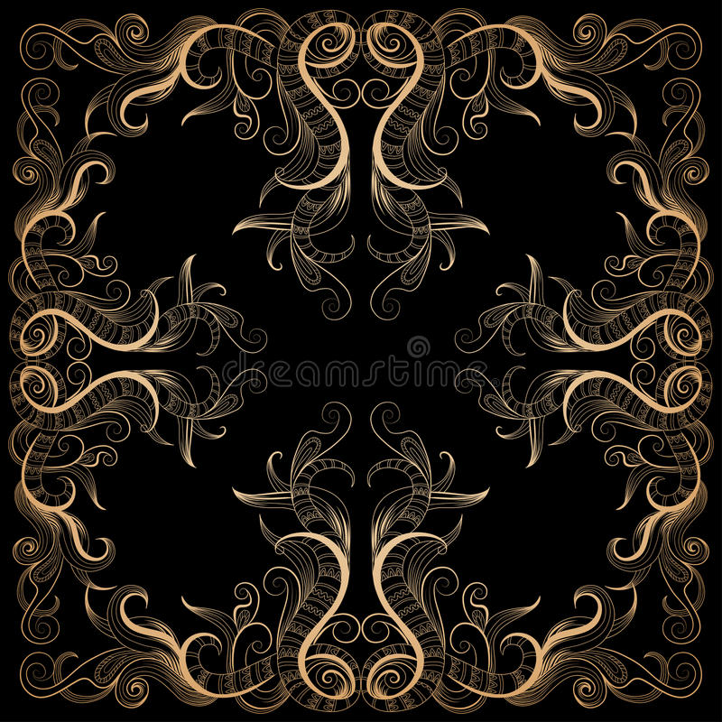Background with filigree hand-drawing ornament. Vector background with filigree hand-drawing ornament on black for design stock illustration