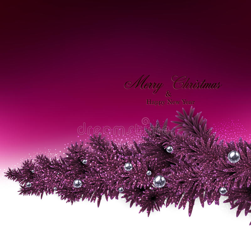 Background with fir branches and metallic balls. royalty free illustration