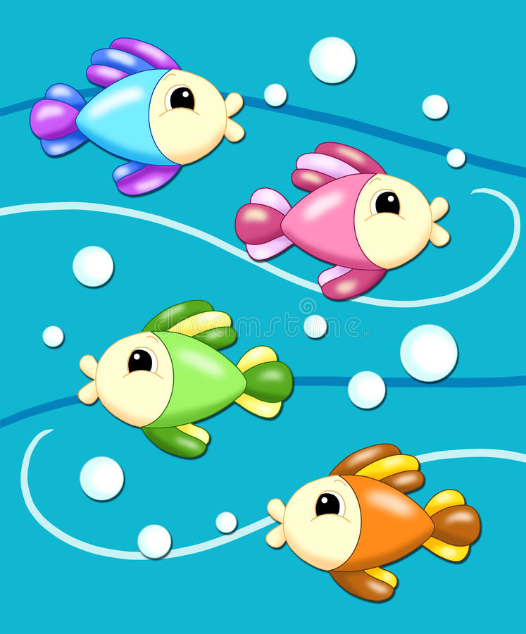 Background With The Fishes Stock Images
