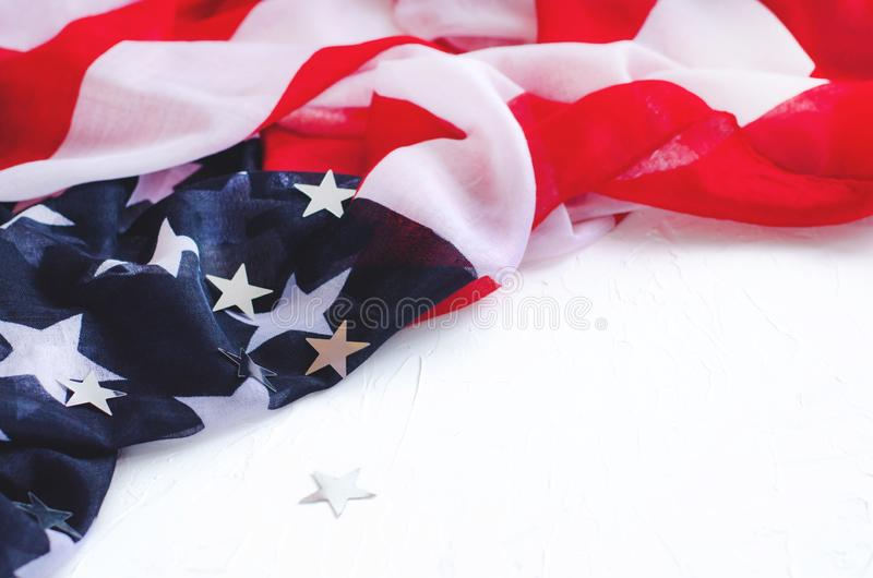 Background with flag of America and shiny stars on a white background royalty free stock photos