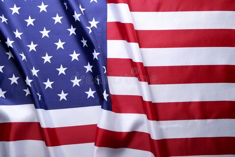 Background flag of the United States of America for national federal holidays celebration and mourning remembrance day. USA symbol. Close up of ruffled American stock photos