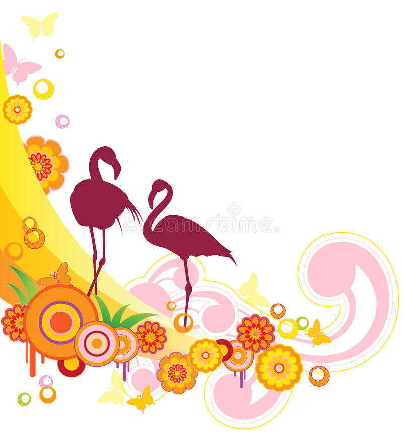 Background With Flamingo Royalty Free Stock Photos