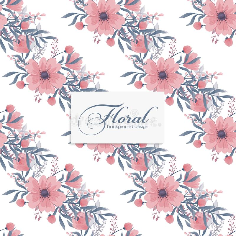 Background floral  - pink flowers seamless pattern royalty free illustration