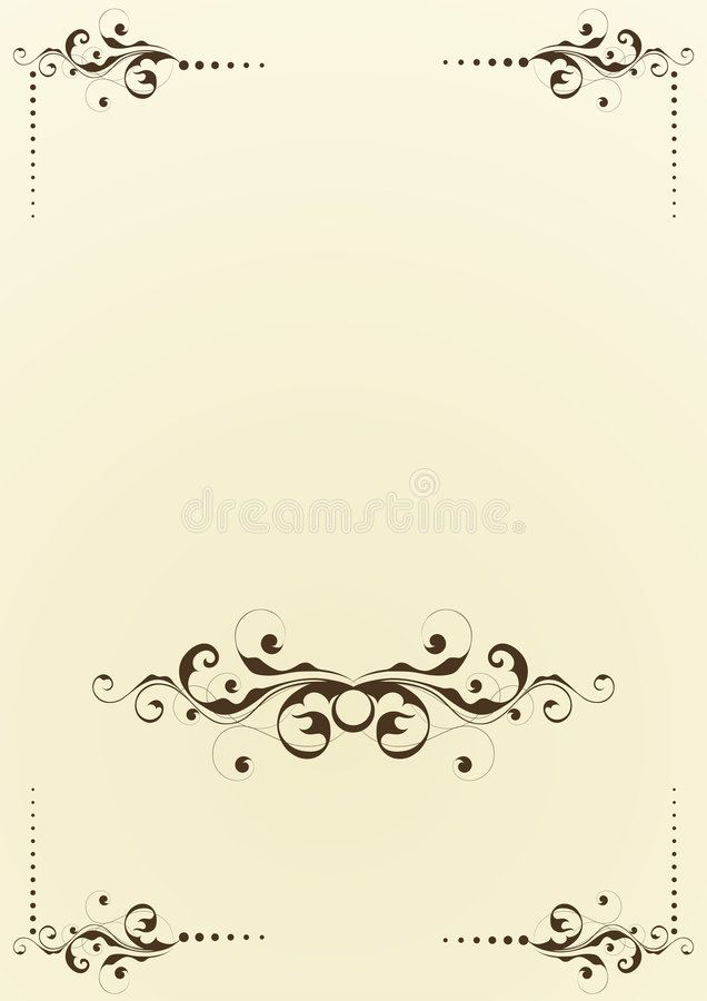 Background with flourishes. A background design for a brochure or flier with black flourishes royalty free illustration