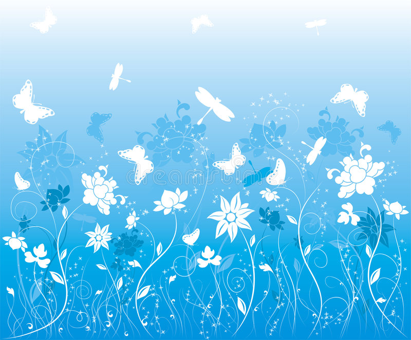 Background flower with butterfly, vector vector illustration