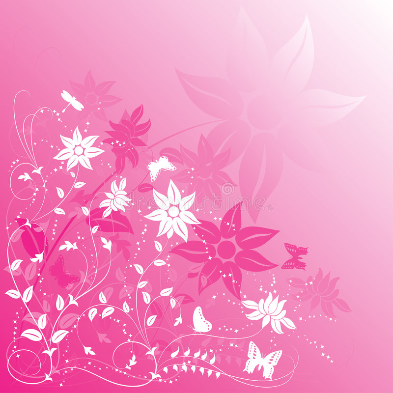 Background flower with butterfly, vector stock illustration