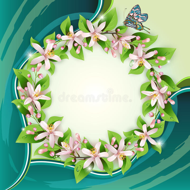Download Background With Flower Wreath Stock Vector - Image: 26371209