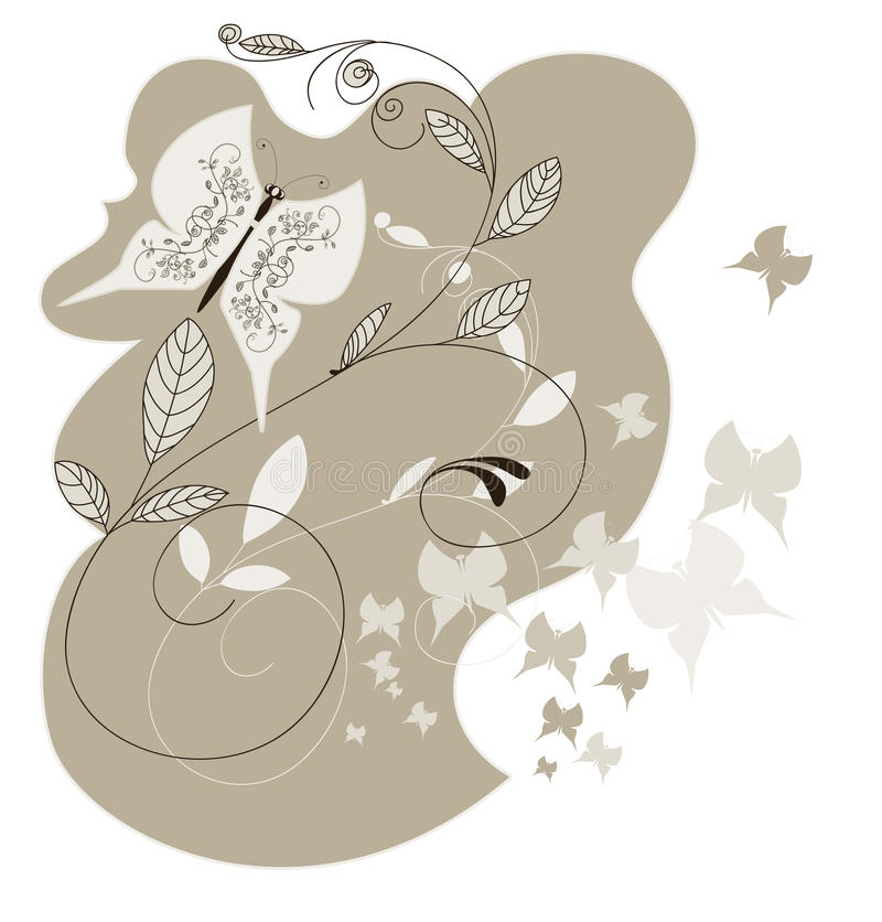 Background with flowers and butterflies royalty free illustration