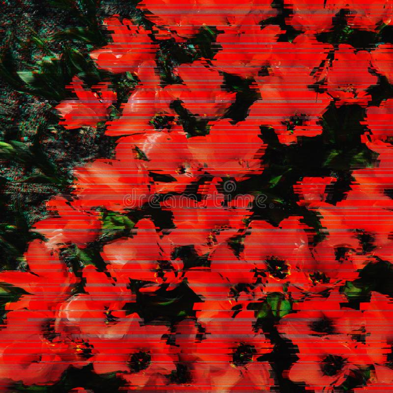 Background of flowers in glitch effect. Romantic background of spring varied colors in glitch effect stock photography