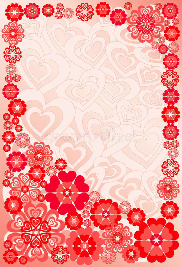 Background with flowers and hearts, vector vector illustration