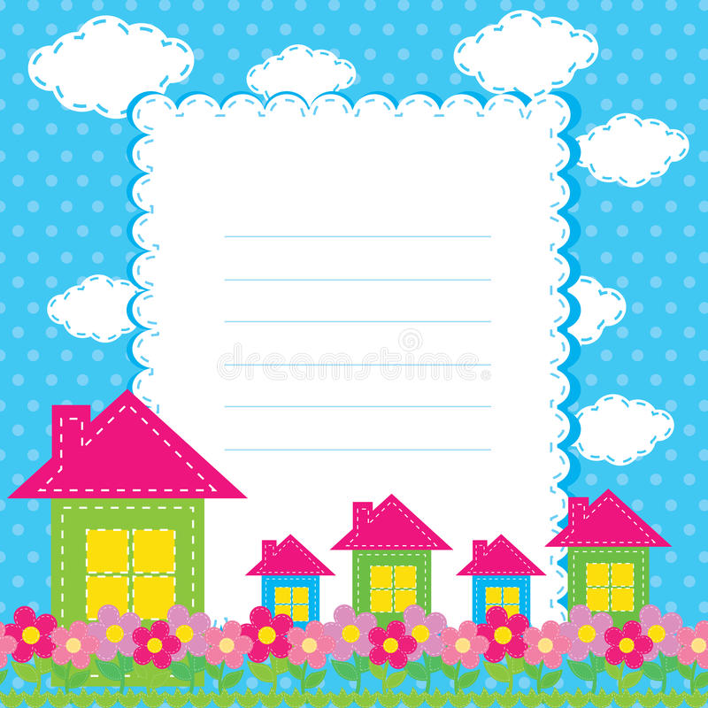 Background with flowers and a home for chil. Vector background with flowers and a home for children royalty free illustration