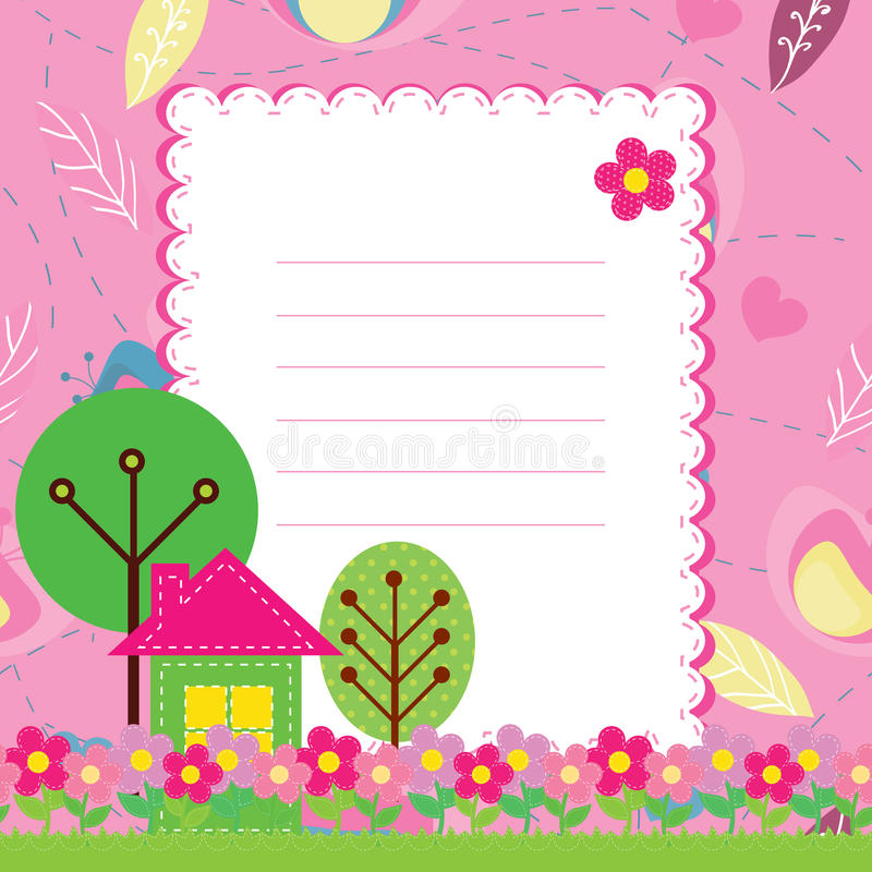 Background with flowers and a home for chil. Vector background with flowers and a home for children vector illustration