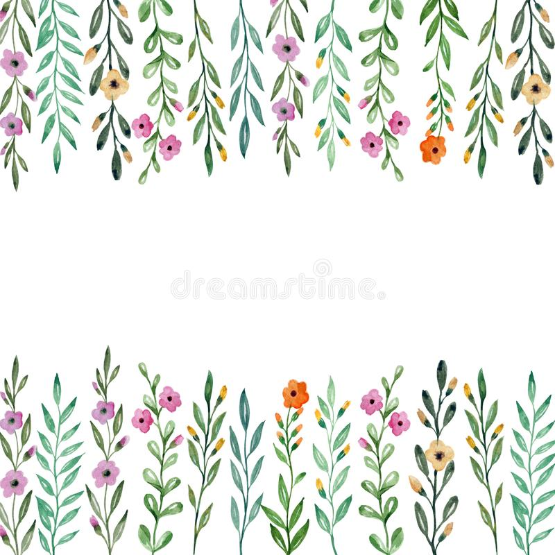 Background with flowers and plants. Watercolor drawing. royalty free illustration