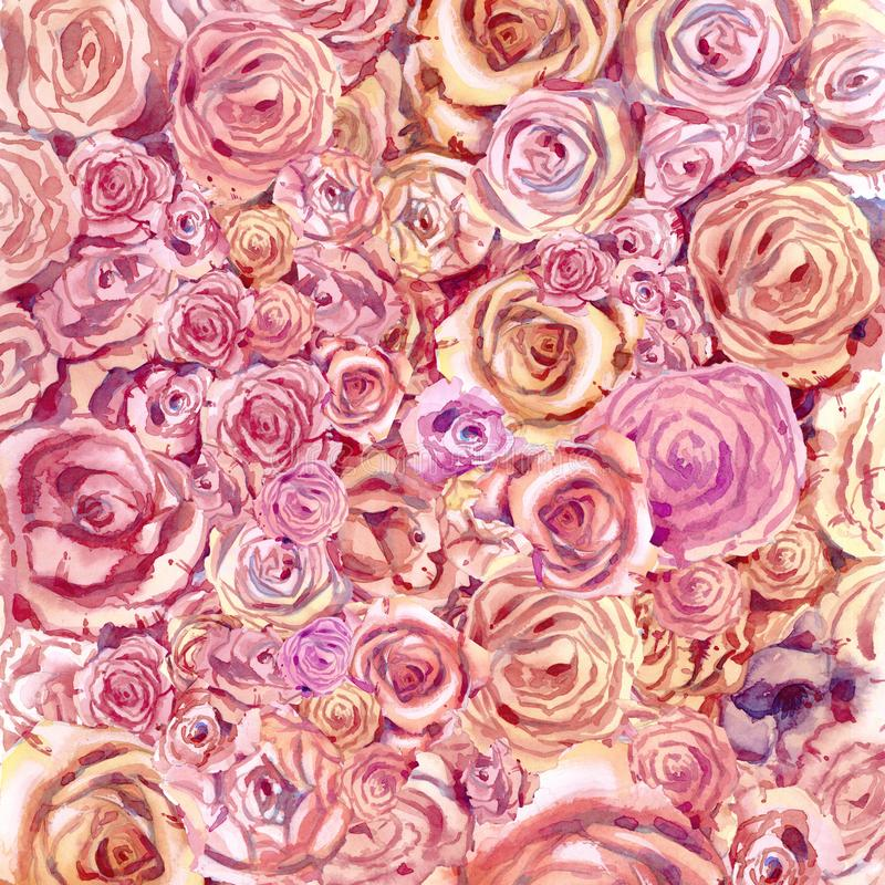 Background of flowers of roses in watercolor. stock photo