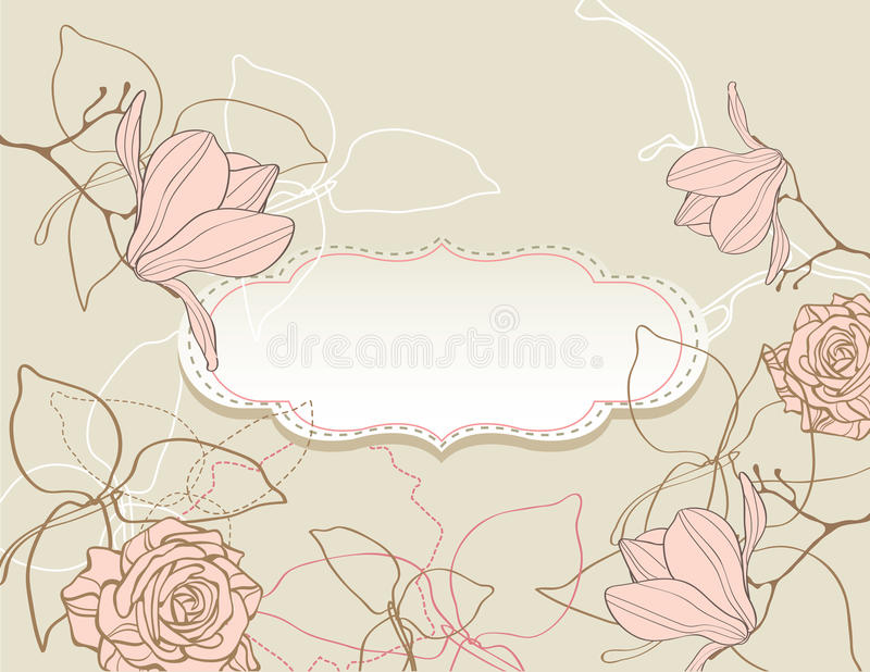 Background with flowers vintage style vector illustration