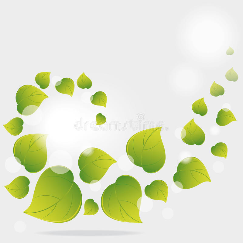 Background from flying green leaves royalty free illustration