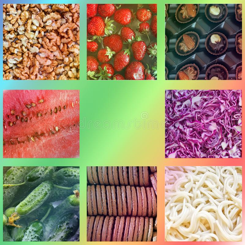 Background from food. Photo collage.  royalty free stock image
