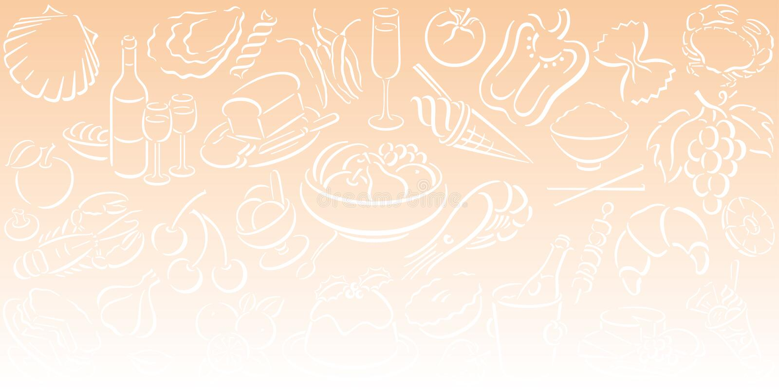 Background with food symbols royalty free illustration