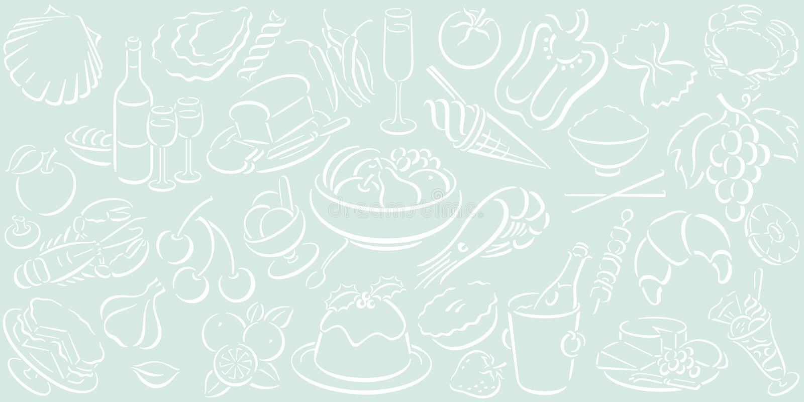 Download Background With Food Symbols Stock Vector - Illustration: 6214044
