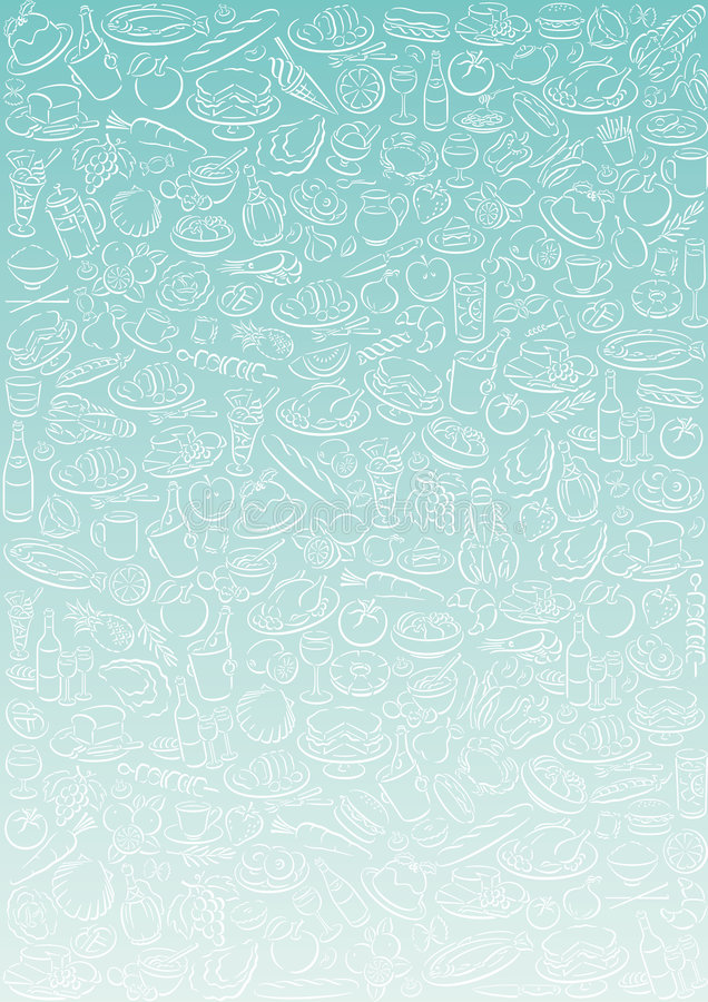 Background with food symbols. Gradient background with a lot of food symbols. Available as Illustrator-file royalty free illustration