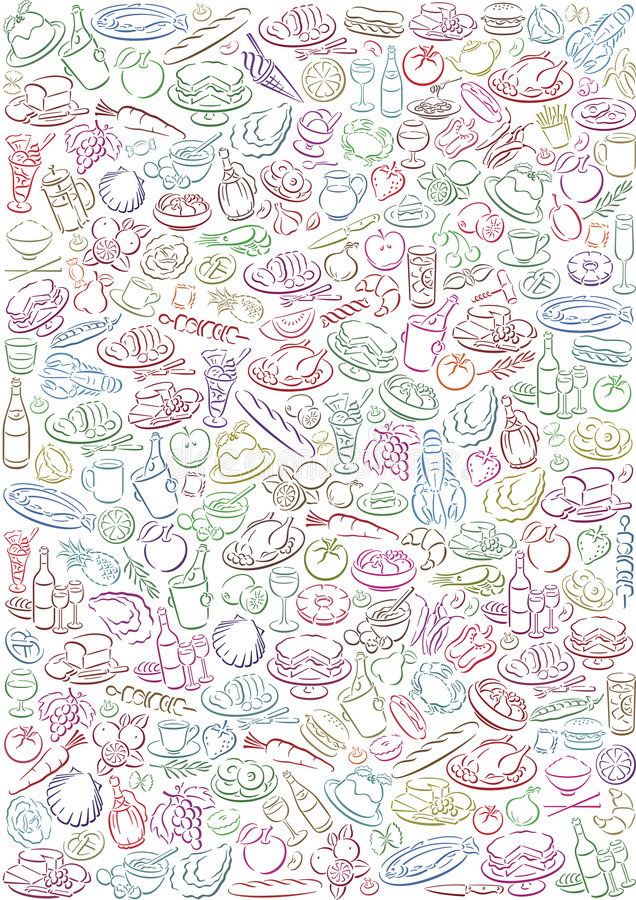 Background with food symbols. White background with a lot of colored food symbols. Available as Illustrator-file vector illustration