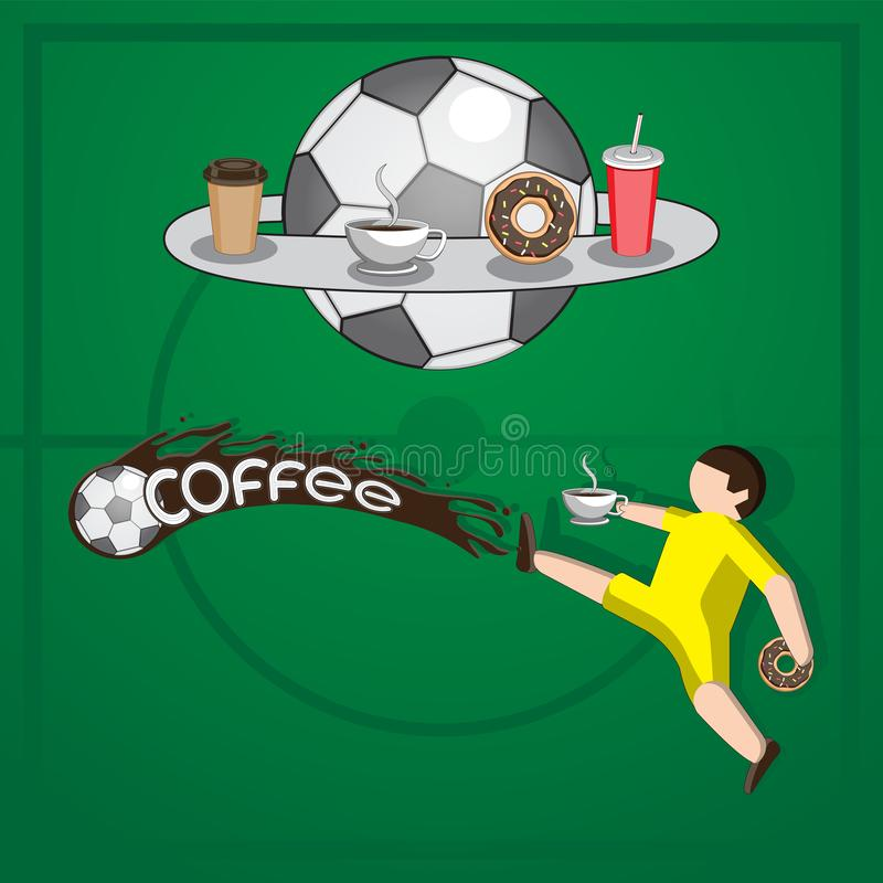 Background football player hits the ball liquid coffee letters Cup doughnut packaging on isolated background. Vector image. Eps 10 stock illustration