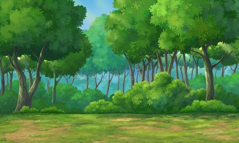 Background forest daytime stock illustration