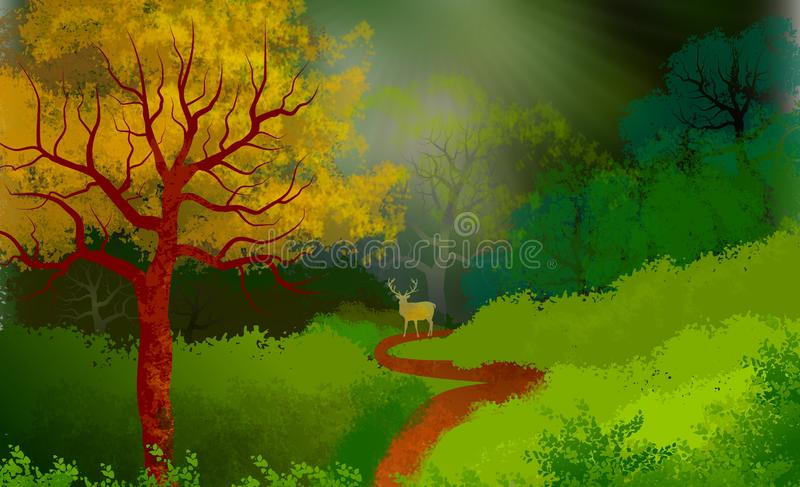 Background on forest landscape with a deer in silhouette on a path. stock illustration