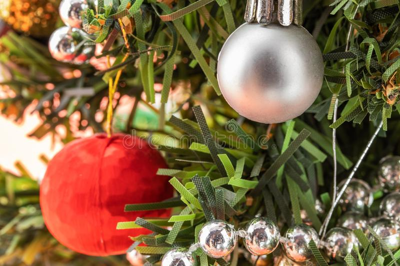 Silver And Red Christmas Decorations Stock Image