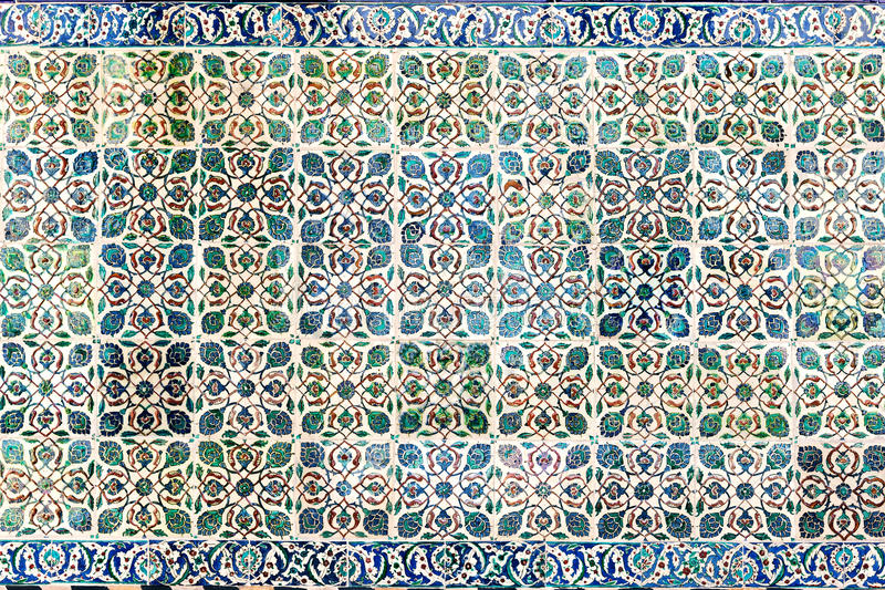 Background in the form of Turkish ceramic tiles royalty free stock photo