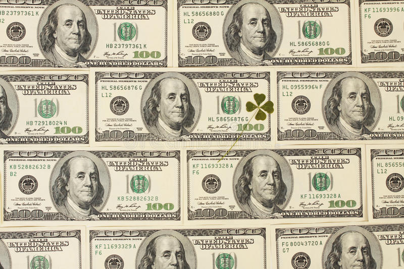 Background with four leaf clover made of hundred dollar bank notes stock photo image 33199210 - 100 dollar wallpaper ...