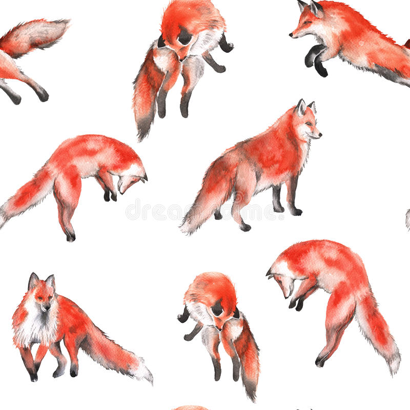Background with foxes. Seamless pattern. Watercolor illustration royalty free illustration