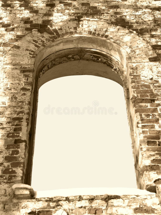 Background Frame Of Ancient Ruin Arc Window Sepia Royalty Free Stock Images