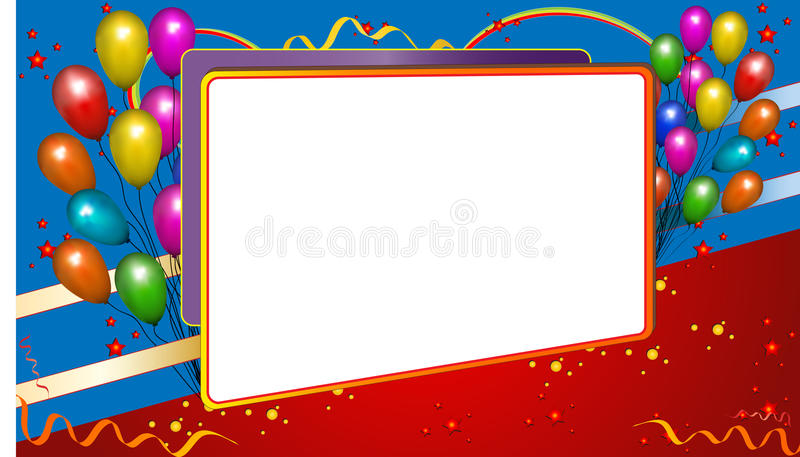Background frame with balloons stock images
